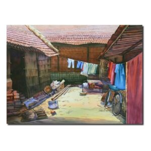Beauty of Village | Watercolor Artwork by Deepak R. Patil | 22x30