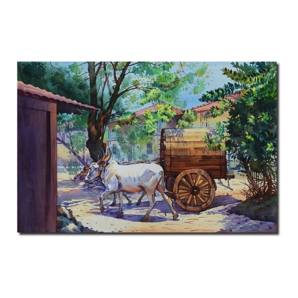 Village Landscape Artwork by Deepak R. Patil | 14 x 22