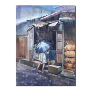 premium paintings-Rainy Day | Watercolor Artwork by Deepak R. Patil | 22x30