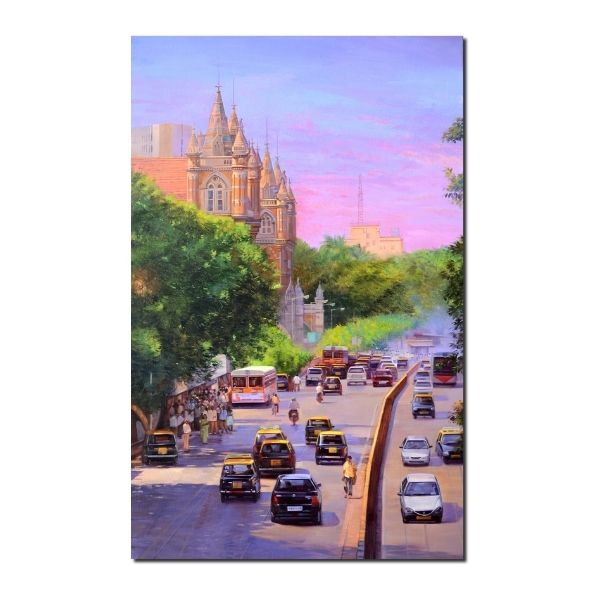 premium cityscape artwork-Beginning Of A New Day | Cityscape Acrylic Artwork by Deepak R. Patil | 30x48
