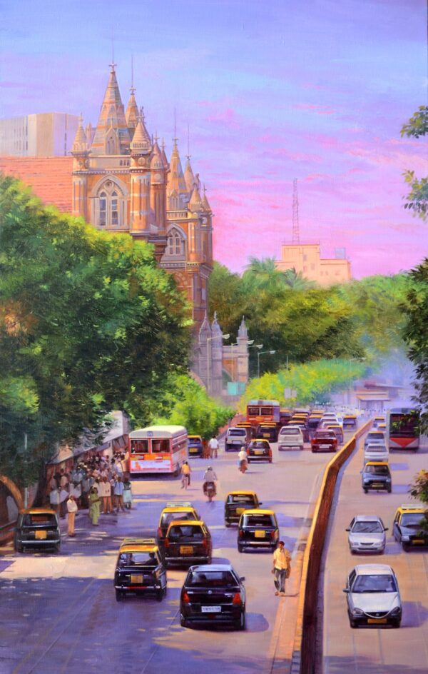Beginning Of A New Day | Cityscape Acrylic Artwork by Deepak R. Patil | 30x48