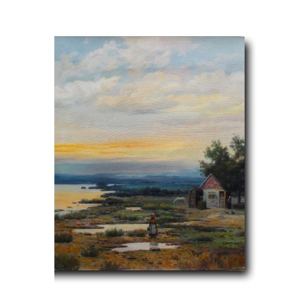 Landscape painting-House On a Countryside   Oil On Canvas Artwork By Mohan Lal Sharma
