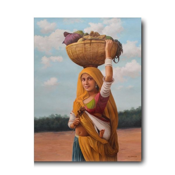 days-of-summer-Figurative Artwork-By Mohan Lal Sharma-Oil On Canvas