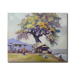 handpainted landscape artwork-Landscape Oil On Canvas Artwork By Mohan Lal Sharma | 24x36