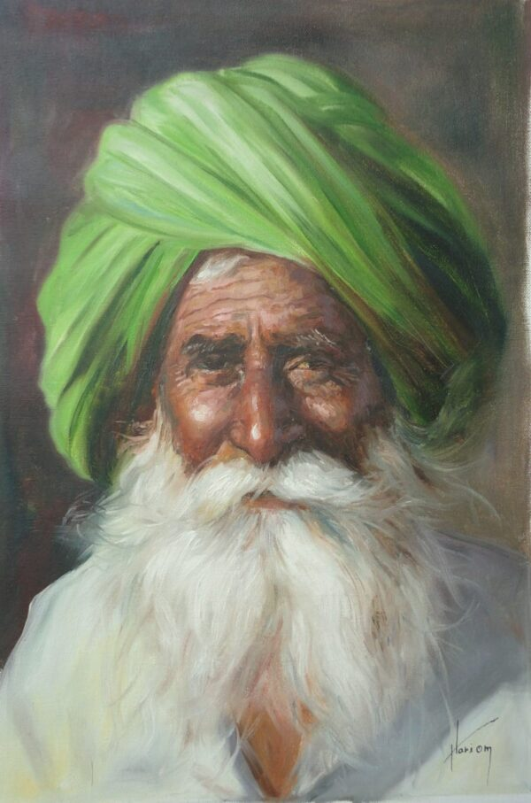 An Era On A Face   Oil Painting By Hari Om Singh