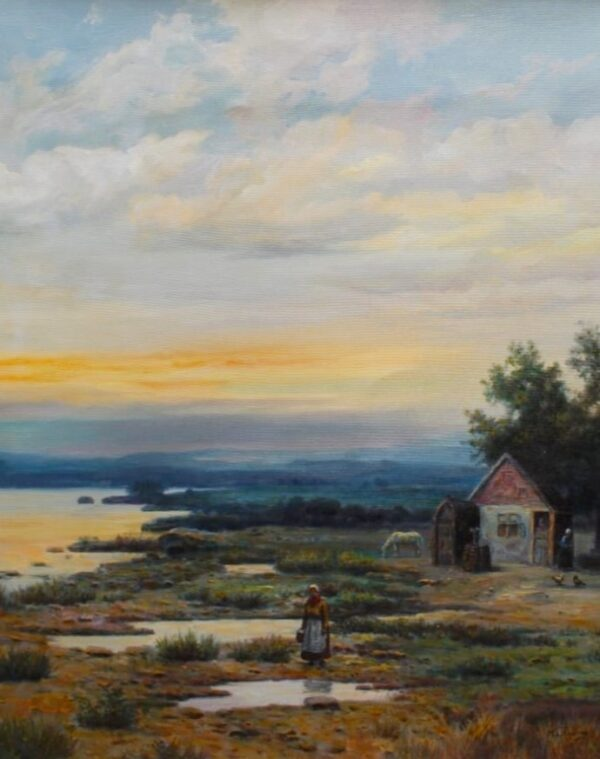 House On a Countryside | Oil On Canvas Artwork By Mohan Lal Sharma