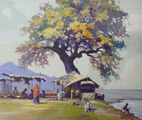Landscape Oil On Canvas Artwork By Mohan Lal Sharma | 24x36