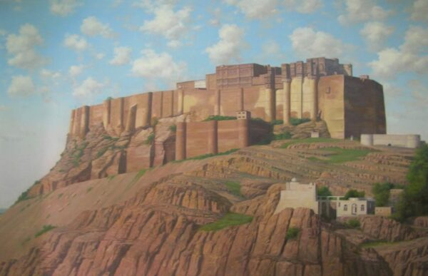 Mehrangarh Fort - The Royal Highness | Oil Painting By Mohan Lal Sharma