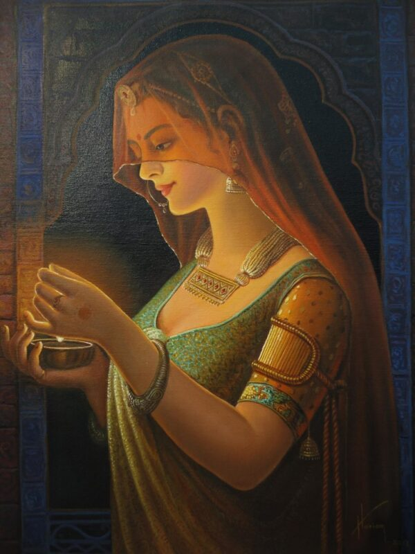 Moments Before The Arrival | Oil Painting By Hari Om Singh