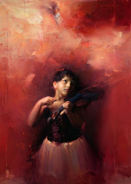 Waiting For Divine Tune By Pramod Kurlekar | Oil Painting | 30x42