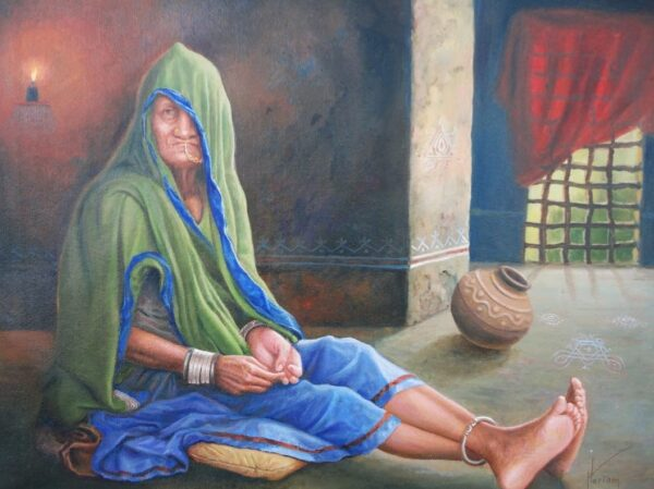 Young Glow Of Wanderer Age - The Lady Of The Nomads | Oil Painting By Hari Om Singh
