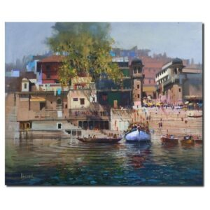 Ripples Of Ganges | Acrylic Painting by Bijay Biswaal | 39x36
