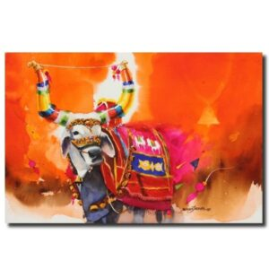 indian paintings for sale the-nandi-part-v-water-color-painting-by-mohan-s-jadhav