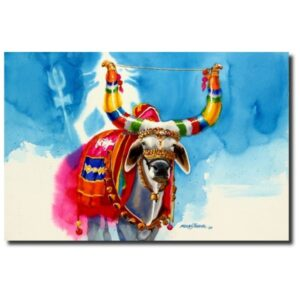 original paintings for sale the-nandi-part-vi-water-color-painting-by-mohan-s-jadhav