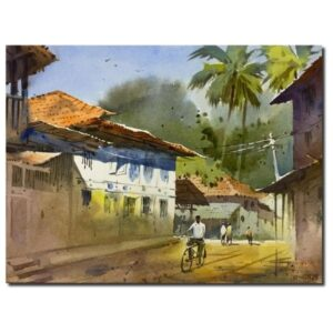 Village (Vol I) | Watercolor Painting by Kishor S. Nadavdekar | 11×14