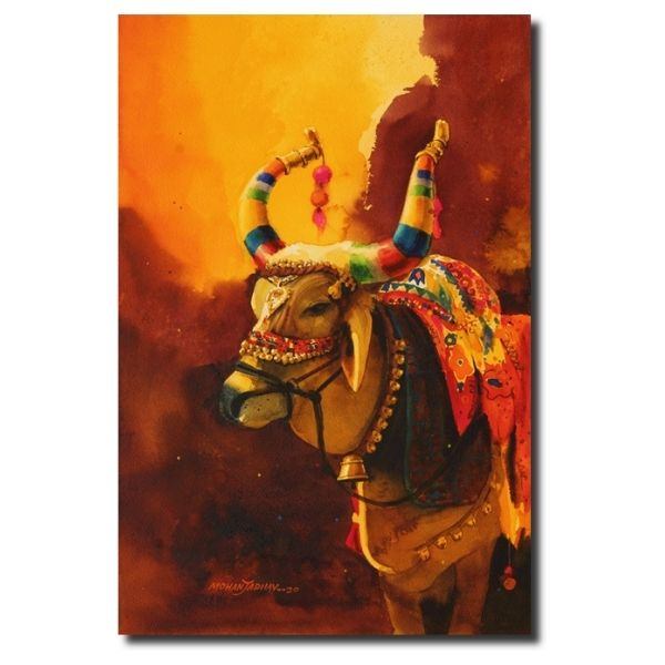 Original Animal Paintings the-nandi-part-viii-water-color-painting-by-mohan-s-jadhav