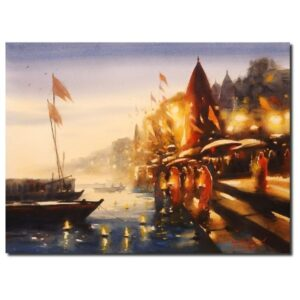 Varanasi Ghaat | Watercolor Painting by Ananta Mandal | 22×30