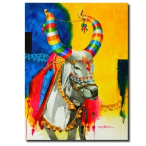 Holy Indian Cow the-nandi-part-ix-water-color-painting-by-mohan-s-jadhav