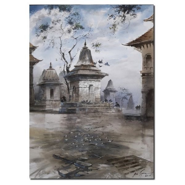 Nepal Temple | Water Color Painting By Atul Gendle