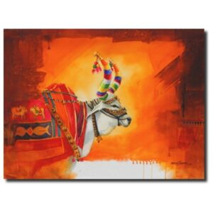 holy cow paintings the-nandi-part-xii-water-color-painting-by-mohan-s-jadhav