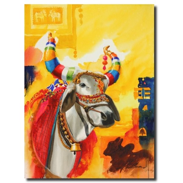 indian god paintings-the-nandi-part-xiii-water-color-painting-by-mohan-s-jadhav
