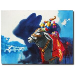 lord shiva paintings-The Nandi (Part XIV)   Water Color Painting by Mohan S. Jadhav   21x29