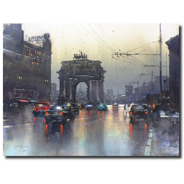 Rainy Evening At Moscow | Water Color Painting By Prafful B. Sawant