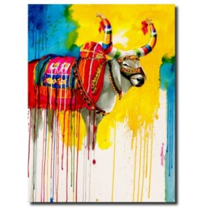 The Nandi (Part XVI)   Water Color Painting by Mohan S. Jadhav   21x29