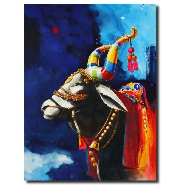 The Nandi (Part XVII) | Water Color Painting by Mohan S. Jadhav | 21x29