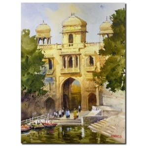 Gadisar Lake | Watercolor Painting by Kishor S. Nadavdekar