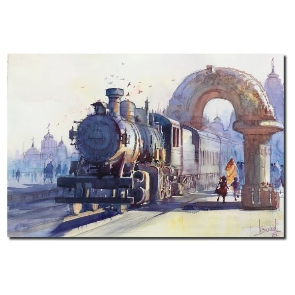 Orissa Heritage Train | Water Color Painting by Bijay Biswaal | 14x20