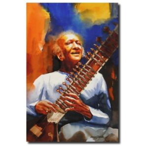 Contemporary Paintings pt-ravi-shankar-water-color-painting-by-mohan-s-jadhav