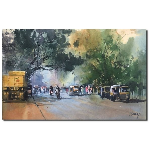 Citiscape 2 | Watercolor Painting by Bijay Biswaal | 13x20
