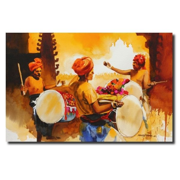 indian contemporary paintings dhangari-dhol-water-color-painting-by-mohan-s-jadhav