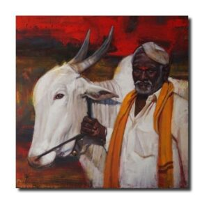 Indian Village Paintings auspicious-allies-oil-painting-by-borse-parag-dinesh
