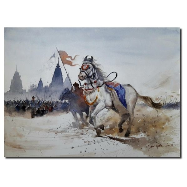 Horse paintings Horse | Water Color Painting By Atul Gendle | 22x30