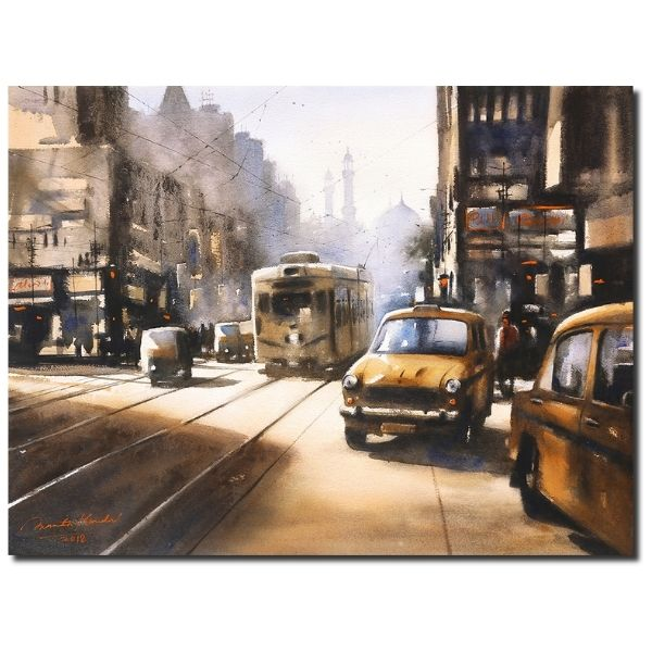 Kolkata Afternoon | Watercolor Painting by Ananta Mandal | 22×30