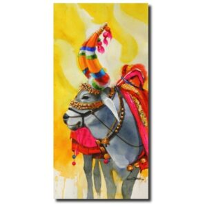famous religious paintings the-nandi-part-iii-water-color-painting-by-mohan-s-jadhav
