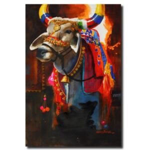 original watercolor paintings for sale the-nandi-part-iv-water-color-painting-by-mohan-s-jadhav