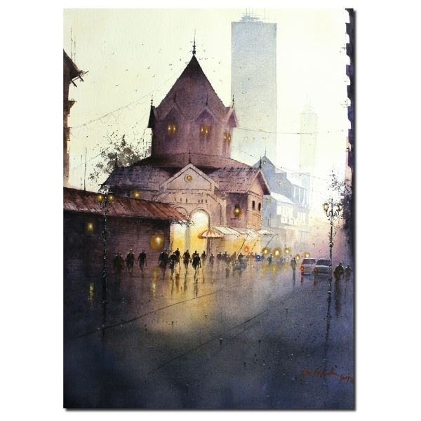 City Lights| Water Color Painting By Atul Gendle