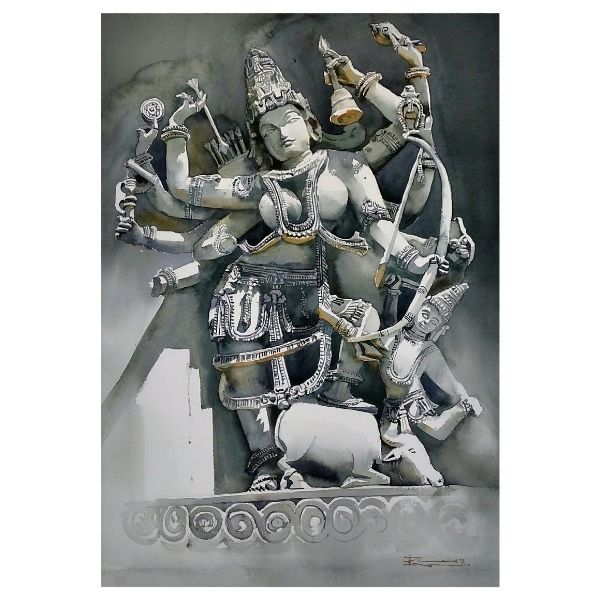 Mahishasura Mardhini| Watercolor Painting by Ranjeet Singh