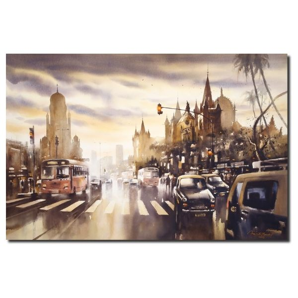 Monsoon In Mumbai | Watercolor Painting by Ananta Mandal | 30×45