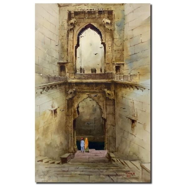 Rani Ki Bavdi | Watercolor Painting by Kishor S. Nadavdekar | 21×14