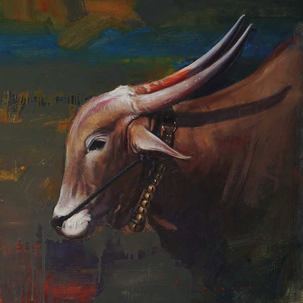 A HORNED GRACE | Oil Painting By Borse Parag Dinesh