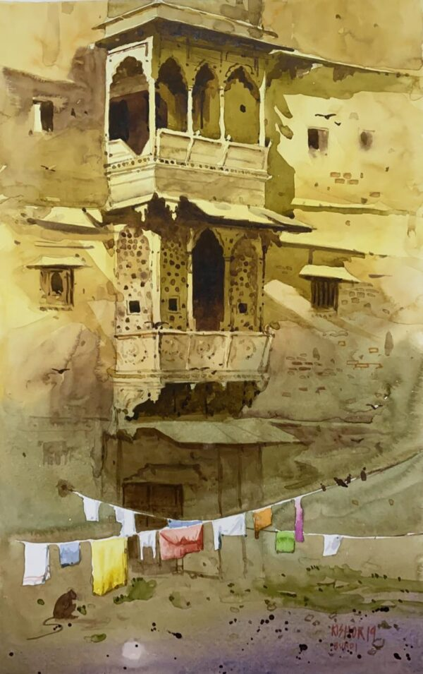 Haveli (Vol I) | Watercolor Painting by Kishor S. Nadavdekar | 19×13