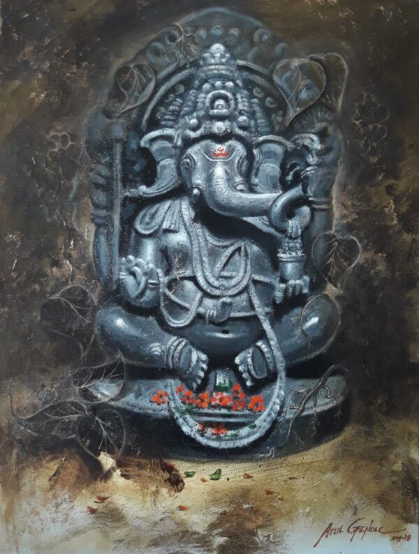 Lord Ganesha (Vol I)| Acrylic Color on Canvas By Atul Gendle