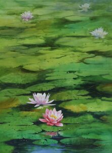 Lotus Water | Watercolor Painting by Kishor S. Nadavdekar | 22×28