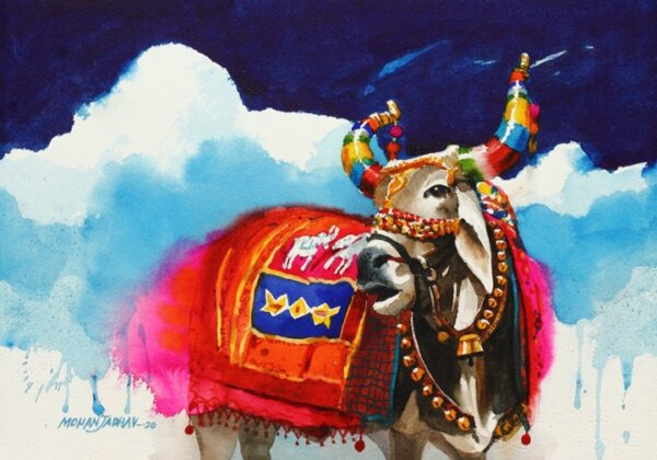 Indian God Paintings For Sale the-nandi-part-ii-water-color-painting-by-mohan-s-jadhav