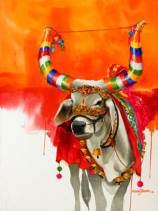 indian cow paintings the-nandi-part-x-water-color-painting-by-mohan-s-jadhav