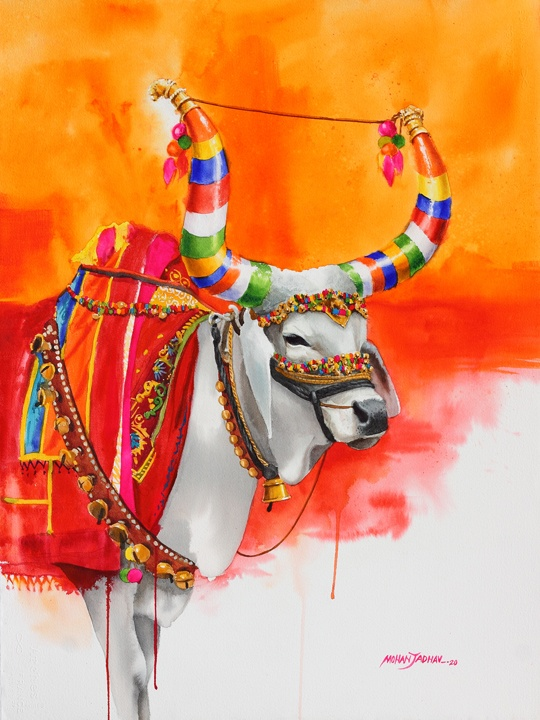 Nandi Cow Paintings the-nandi-part-xi-water-color-painting-by-mohan-s-jadhav